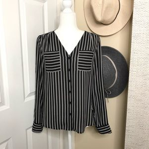 Express Black and White Striped Portofino Shirt